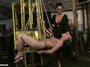 Kathia Nobili and Mandy Bright body strapping with cable