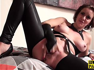 cooch gobbled british mature thumbs her snatch