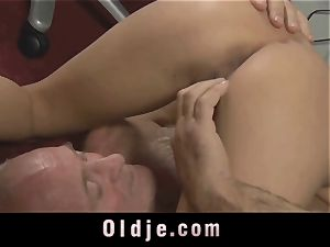 senior boss spoiling the wild honeypot of his Romanian maid